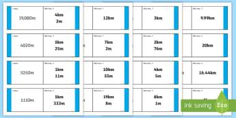 Kilometres and Metres Loop Cards - kilometres and metres, length, metres, kilometres, loop card, cards, flashcards, loop, image, m, km, distance, Maths