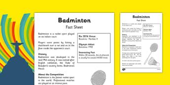 Rio 2016 Olympics Badminton Fact Sheet - rio 2016, rio olympics, 2016 olympics, badminton, fact sheet