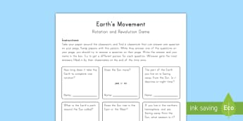 Earth\'s Movement: Rotation and Revolution Game - Space, Planet Earth, Earth's Movement, Earth and Space, Sun, Planets, Solar System, Universe, Stars