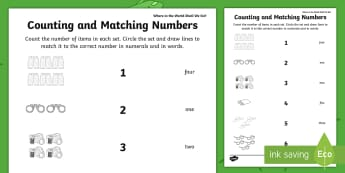 Where in the World Shall We Go? Counting and Matching Numbers Worksheet / Activity Sheet -  ROI, Where in The World Shall We Go, Maths, Activity, Exploring My World, Number, worksheet, Matchi