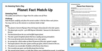 Planet Fact Match-Up Activity Sheet, worksheet