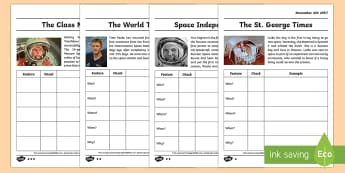 The Features of Newspapers Differentiated Worksheet / Activity Sheets - Neil Armstrong, writing, year 2, newspapers, reporting, features, features of news, types of text