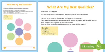 What Are My Best Qualities? Activity Sheet - emotions, confidence, self esteem, PSHCE, relationships, self-knowledge, young people, families, wor