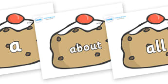100 High Frequency Words on Currant Buns - High frequency words, hfw, DfES Letters and Sounds, Letters and Sounds, display words