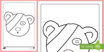 Teddy with Bandage Colouring Page - pudsey, bear, children in need, BBC, activity,