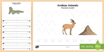 Arabian Animals Pencil Control Worksheet / Activity Sheets - Science, Living World, animals, Arabian, pencil control sheets, writing, drawing, lines, handwriting