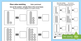 Place Value Tens and Ones Cut and Stick Activity Sheet English/Spanish - Worksheet, counting, base 10, partitioning, units, EAL, translation