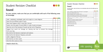 Sound Student Revision Checklist - Student Progress Sheet (KS3), sound, echo, peak, trough, amplitude, frequency