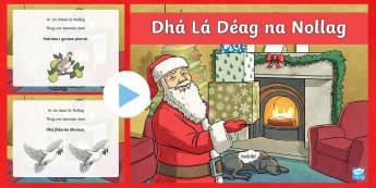 Twelve Days of Christmas Song PowerPoint - Gaeilge - 12 Days of Christmas, Dhá Lá Déag na Nollag, amhrán, carúl, song, carol, Christmas, Irish