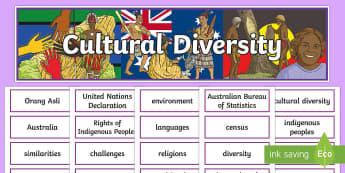 Cultural Diversity Display Pack- - geography, year 6, header, title, topic, wall, ACHASSK140,Australia