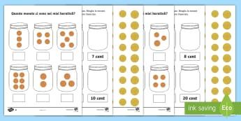 Quante monete ci sono nei barattolo? Attività - quanti, soldi, euro, italiano, italian, materiale, scolastico, contare, matematica