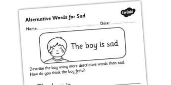 Alternative Words For Sad Worksheet - alternative words for sad, better words for sad, other words for sad, synonyms, synonym worksheet, synonyms for fun