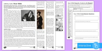 Biography of Oscar Wilde Differentiated Reading Comprehension Activity - Dorian Gray, Wilde, KS4, GCSE Poetry, the ballad of reading Gaol, oscar,