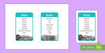 Rocks Scientific Vocabulary IKEA Tolsby Frame  - year 3, posters, science, sceince, rocks and minerals, scince, Sience, scienec, scence