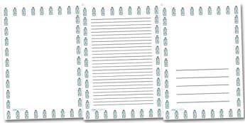 Water Bottle Portrait Page Borders- Portrait Page Borders - Page border, border, writing template, writing aid, writing frame, a4 border, template, templates, landscape