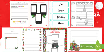Christmas Holidays Write Up First Level Resource Pack - Back to School, Recount, 1st level, First week back, prompts