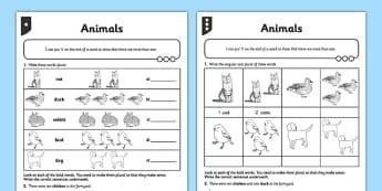 Differentiated Animals Worksheet / Activity Sheet - GPS, spelling, grammar, suffix, plural, worksheet