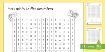 Mother's Day Differentiated Word Search English/French - KS3, French, Mother's Day, word, search, mots, mêlés, fête, mères, vocabulary, writing, activit