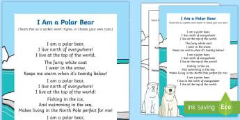 I am a Polar Bear Rhyme - winter, arctic, Antarctic, polar, polar bears, rhyme