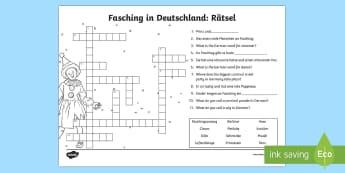 Carnival in Germany Crossword - Carnival in Germany, Fasching, Fastnacht,Karneval, German