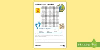 Chemistry of the Atmosphere Word Search - combustion, radiation, deforestation, volcanoes, atmosphere