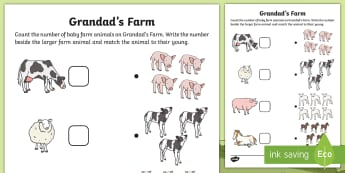 Grandad's Farm Counting Worksheet / Activity Sheet - ROI, farm animals, Aistear, KS1, Exploring My World, English, Maths, worksheet, on the farm,Irish
