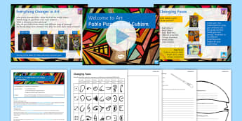 Everything Changes: Picasso and Cubism Lesson Pack - Secondary Transition Resources, Picasso, cubism, dice game, critique, portrait.