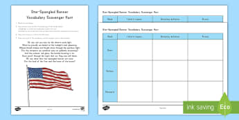 Star-Spangled Banner Vocabulary Scavenger Hunt - Veterans Day, Soldier, USA, Army, Navy, Coast Guard, Marine, Air Force, Dictionary