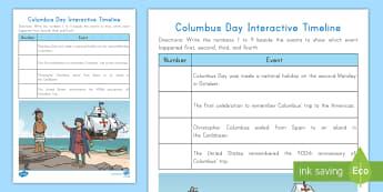 Columbus Day Interactive Timeline Activity - Christopher Columbus, Columbus Day, Explorer, Fall, October