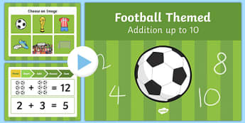 Football Themed Addition to 10 PowerPoint - football, addition, 10, powerpoint