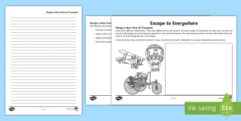 Australian Book Week- Escape to Everywhere Transport Creation Worksheet / Activity Sheet-Australia - creating texts, year 3, year 4, year 5, year 6, book week, design your own transport, ACELY1710, ACE