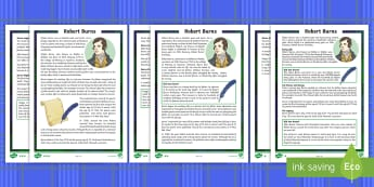 CfE Second Level Robert Burns Differentiated Reading Comprehension Activity - Scottish significant individuals, Burns Night, Scottish traditions, Scottish writers, Rabbie Burns,