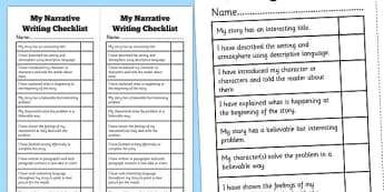 Narrative Writing Student Checklist - Narrative, Story, NAPLAN, Australian, Student, Checklist, Self Assessment
