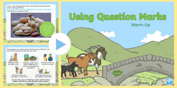 Year 1 Using Question Marks Warm-Up PowerPoint - Spag, revision, morning starter, sentences, Punctuation