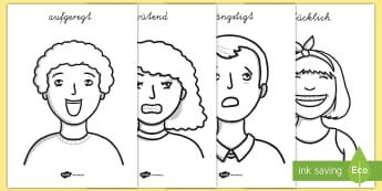 Unsere Emotionen Anmalbilder - Gefühle, meine Gefühle, fühlen, Emotionen,,German