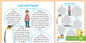 EYFS Home Learning Challenge Sheet Reception FS2 to Support Teaching on Lost and Found - Lost and Found, Oliver Jeffers, polar regions, home work, home learning, parents, home school links,