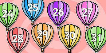 Calendar Numbers 0-31 on Hot Air Balloons (Plain) - Calendar, Foundation Numeracy, Numbers, 0-31, A4, display, birthday, hot air balloon, balloon, balloons