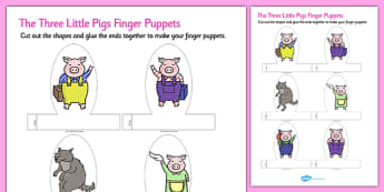 The Three Little Pigs Finger Puppets - finger, puppets, pigs