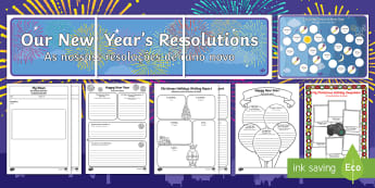New Year's Resolution Resource Pack English/Portuguese - New Years Resolution Resource Pack - new years, resolution, pack, new years resoloution, happynewyea