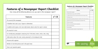 KS2 Features of a Newspaper Report Checklist - non-fiction, newspaper reporter, journalist, recount, uks2.