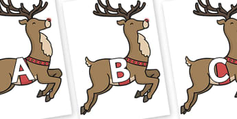 A-Z Alphabet on Rudolph - A-Z, A4, display, Alphabet frieze, Display letters, Letter posters, A-Z letters, Alphabet flashcards