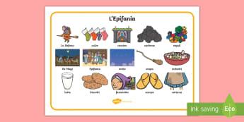 L'Epifania Vocabolario Illustrato - befana, natale, gennaio, witch, strega, italiano, italian, materiale, scolastico