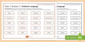 AQA Eng Lang P1 Q3 Academic Language Word Mat - AQA GCSE Specific Question Resources, structure, language, vocabulary