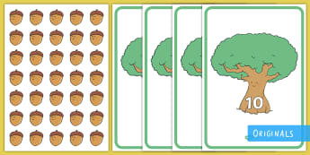 Acorn and Oak Tree Counting to 10 Game - EYFS, Little Acorns, Twinkl Originals, Twinkl Fiction, Autumn, Seasons, Plants and Growth, Growing,