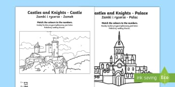 Castles And Knights Colour by Numbers English/Polish  - Castles And Knights Colour by Numbers - colouring, counting , numbes, colering, nigt, countng, couti