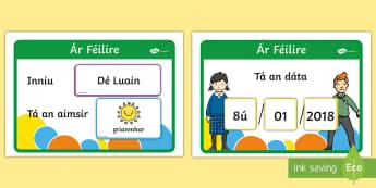Cairt aimsire laethúil- féilire - Daily weather chart, calendar, interactive, féilire, cairt aimsire,