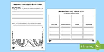 Monsters in the Deep Atlantic Activity Sheet - Science Week, 10/03/17, ocean, sharks, octopus, crab, fish, deep, activity, home learning, home work