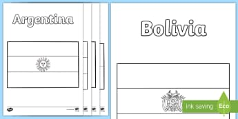 Flags of South America Colouring Pages - flags of europe, colouring sheets, flags, europe, display,