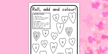 Valentine's Day Colour and Roll Activity Sheet - valentines day, colour