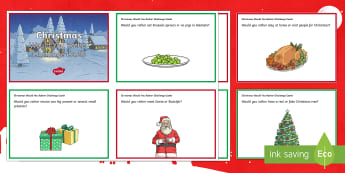 KS2 Christmas Would You Rather Challenge Cards - Dinner, Santa, Reindeer, Tree, Presents